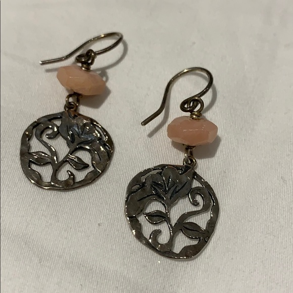 Sterling silver and rose quartz flower earrings